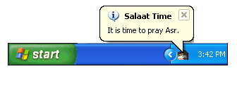 Salaat Time Screenshot - Balloon Tip