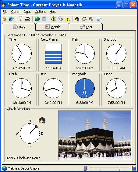 FREE Muslim Prayer Time / Athan / Qiblah Direction / Hijri Calendar application Screen Shot