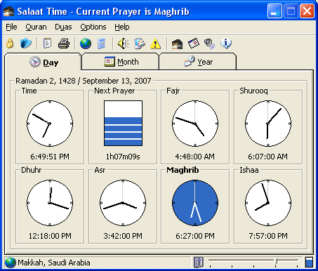 Salaat Time Screenshot - Main Screen Compact Mode
