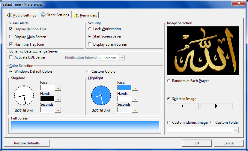 Salaat Time Screenshot - Other Settings Screen