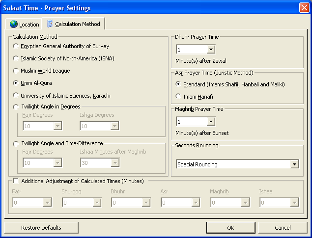 Salaat Time Screenshot - Prayer Calculation Method Screen