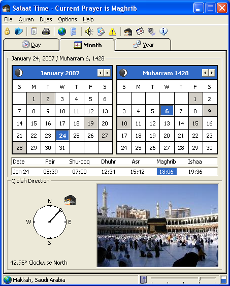 Salaat Time Screenshot - Main Screen Monthly Full Mode
